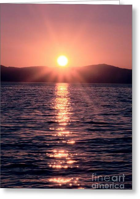 Sunset Lake Verticle Greeting Card