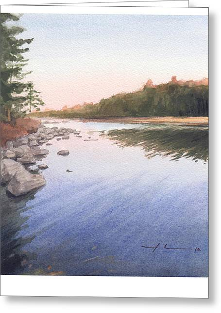 Sunset Lake Watercolor Painting Greeting Card by Mike Theuer