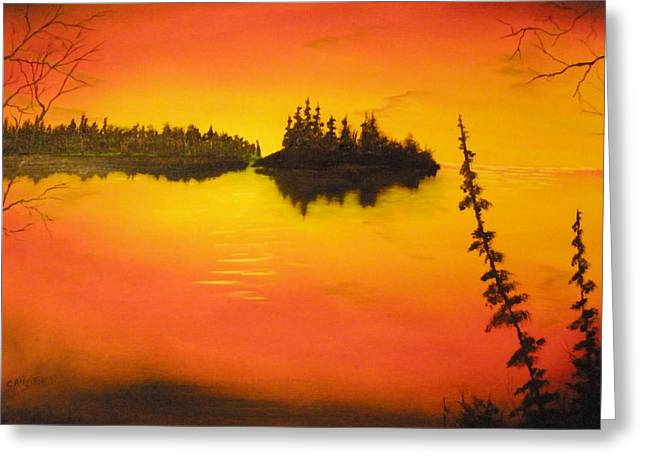 Sunset Lake1 Greeting Card by Ron Sargent