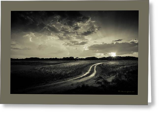 Sunset Lane-bw Greeting Card by Marvin Spates