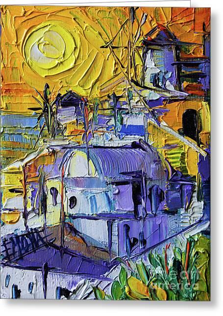Sunset Light In Oia - Mini Santorini Cityscape 02 - Palette Knife Oil Painting Greeting Card
