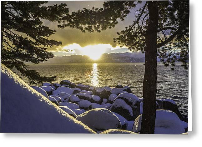 Sunset Light Lake Tahoe Greeting Card