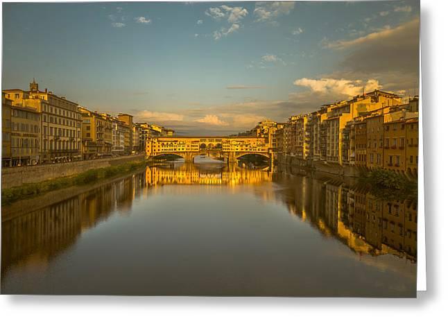 Sunset Light On The Ponte Vecchio Bridge Greeting Card by Chris Fletcher