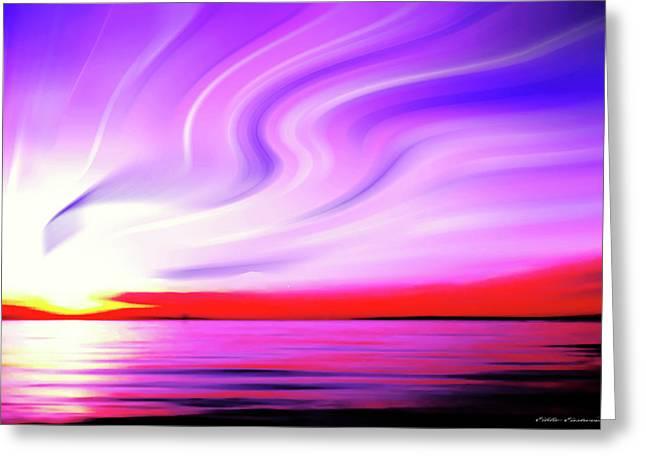 Sunset Light Painting At Edmonds Washington Waterfront Greeting Card