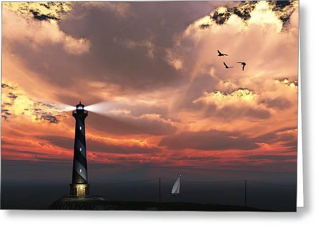 Sunset Lighthouse 2 Greeting Card
