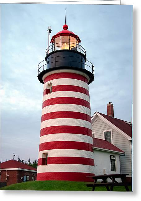Sunset Lighthouse Greeting Card by Brenda Giasson