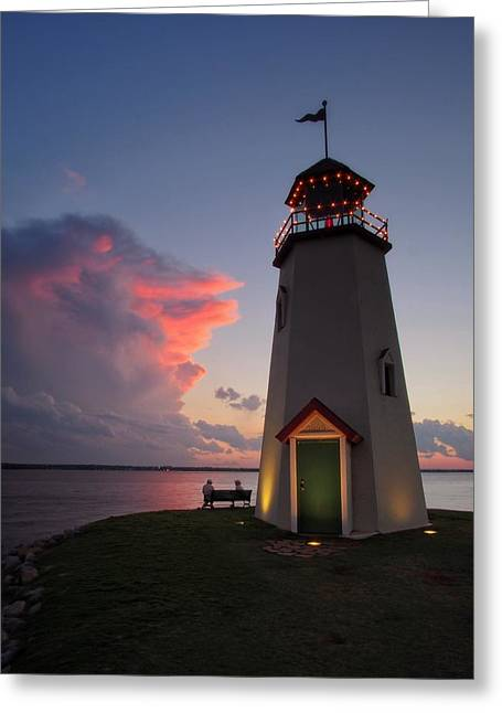 Sunset Lighthouse  Greeting Card by Buck Buchanan