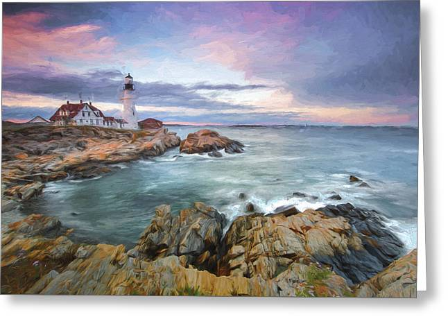 sunset lighthouse III Greeting Card by Jon Glaser