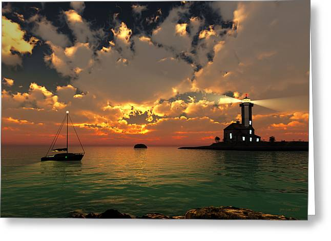 Jim Coe Greeting Cards - Sunset Lighthouse Greeting Card by Jim Coe
