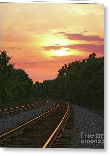 Sunset Lighting Up The Rails Greeting Card by Benanne Stiens