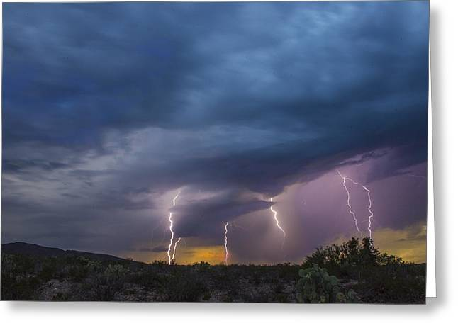 Sunset Lightning Greeting Card