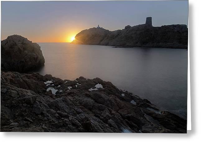 sunset L'Ile Rousse - Corsica Greeting Card