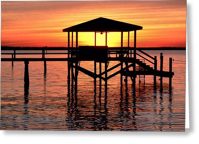 Sunset Lit Pier Greeting Card