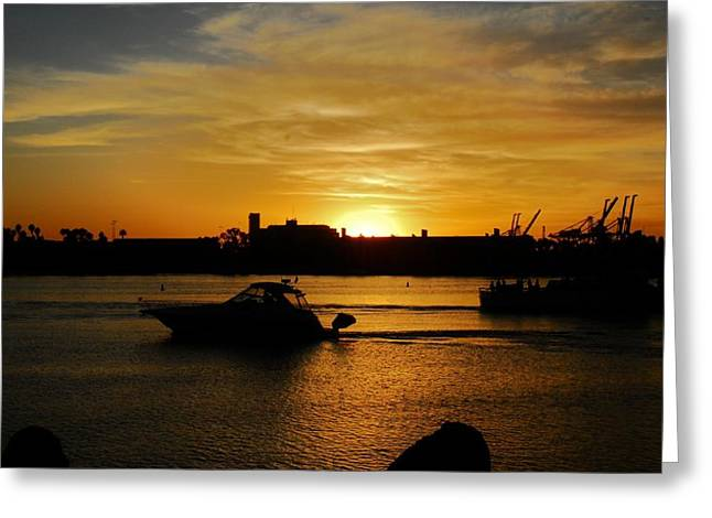 Boats At Dock Greeting Cards - Sunset Long Beach C.A. Greeting Card by Valerie H