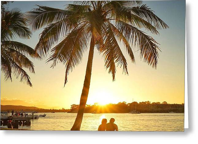 Greeting Card featuring the photograph Sunset Lovers Under Palm Tree And Down By The River by Keiran Lusk