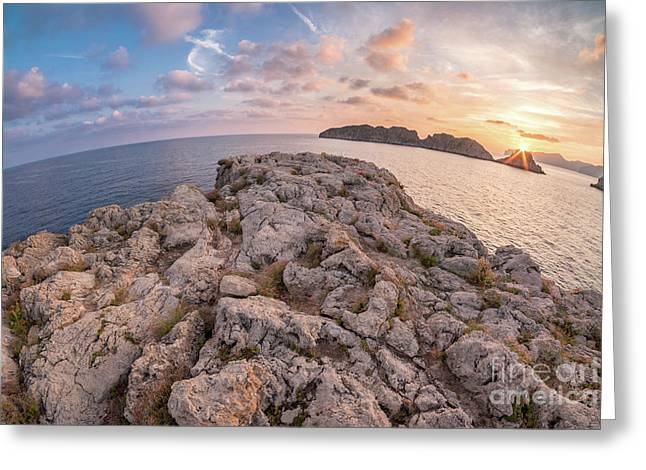 Sunset Malgrats Island Wide Angle Greeting Card