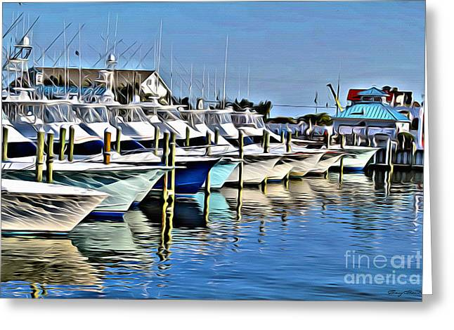 Sunset Marina Greeting Card by Carey Chen