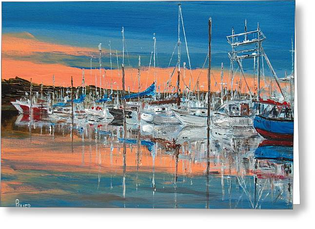 Sunset Marina Greeting Card by Pete Maier