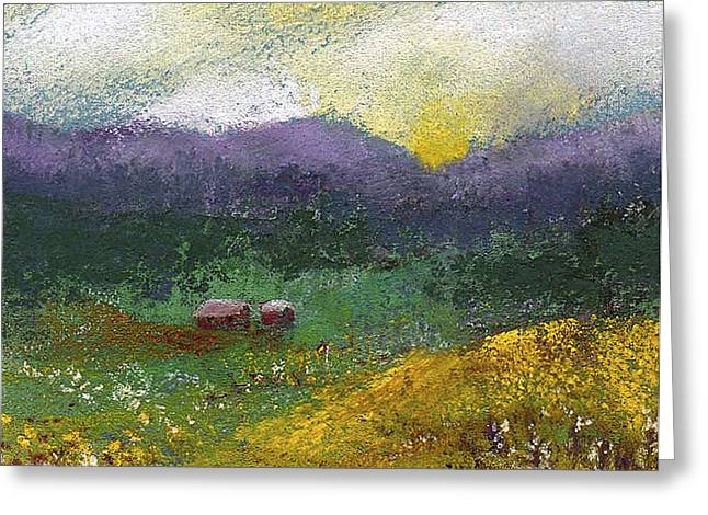 Field. Cloud Pastels Greeting Cards - Sunset Meadow Greeting Card by David Patterson
