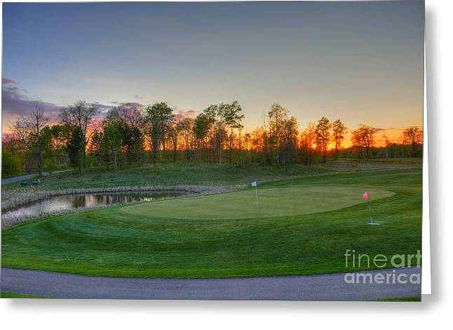 Sunset Minnesota National Golf Course Championship Course 2 Greeting Card