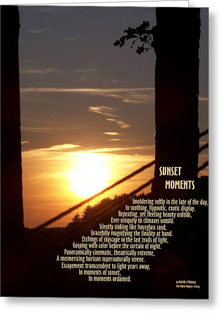 Sunset Moments IIi Greeting Card by Patrick J Maloney
