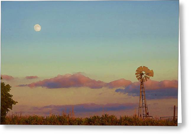 Sunset Moonrise With Windmill  Greeting Card