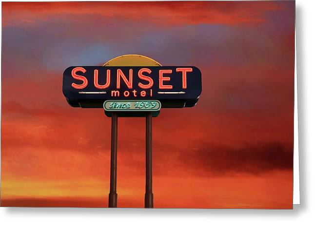 Greeting Card featuring the photograph Sunset Motel by Donna Kennedy