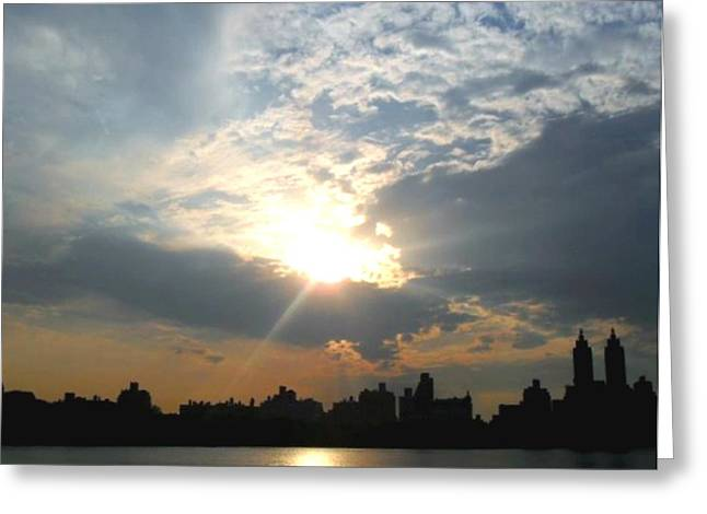 Sunset New York  Greeting Card by Vannetta Ferguson