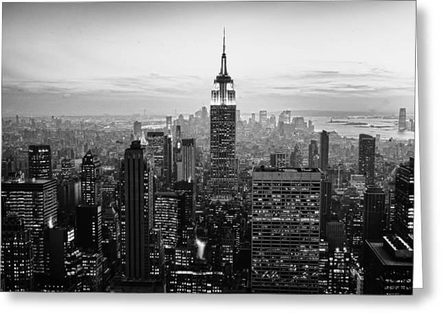 Sunset Of Manhattan Bw Greeting Card by Randy Lemoine