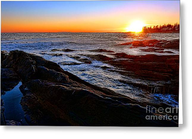 Sunset Off Pemaquid Point Greeting Card by Olivier Le Queinec