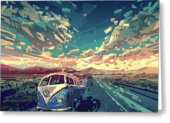 Sunset Oh The Road Greeting Card by Bekim Art