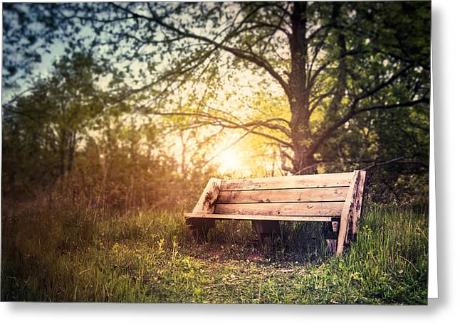 Sunset On A Wooden Bench Greeting Card