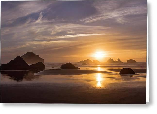 Sunset On Bandon Beach Greeting Card