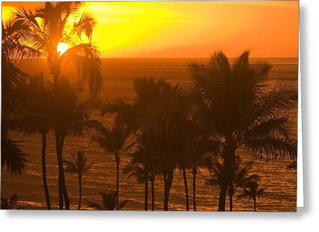 Sunset On Beach, Wailea, Hawaii Greeting Card