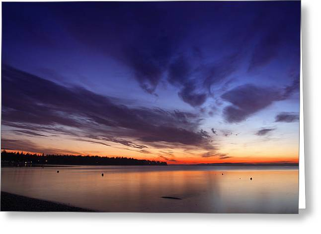 Sunset On Birch Bay 3 Greeting Card by Julius Reque