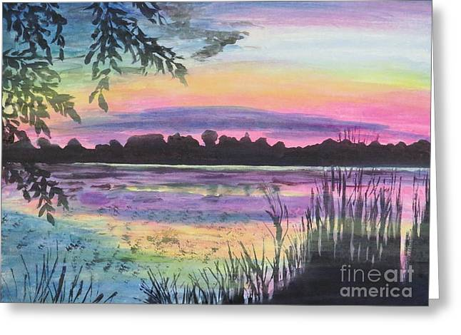 Sunset On Buck Pond Greeting Card