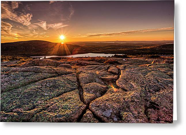 Greeting Card featuring the photograph Sunset On Cadillac Mountain by Joe Paul