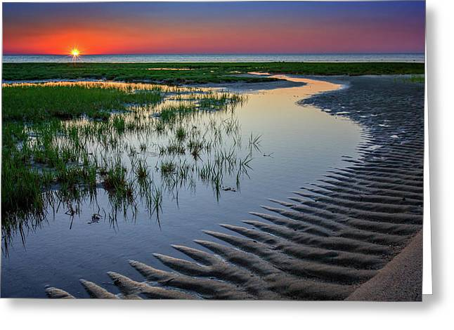 Cape Cod Bay Greeting Cards - Sunset on Cape Cod Greeting Card by Rick Berk