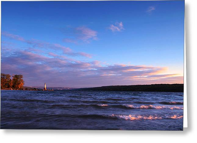 Sunset On Cayuga Lake Ithaca Greeting Card by Paul Ge