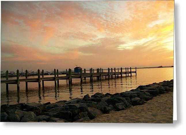 Sunset On Dewey Bay Greeting Card by Trish Tritz