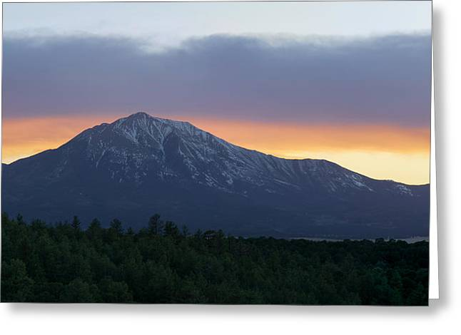 Sunset On East Spanish Peak Greeting Card by Aaron Spong