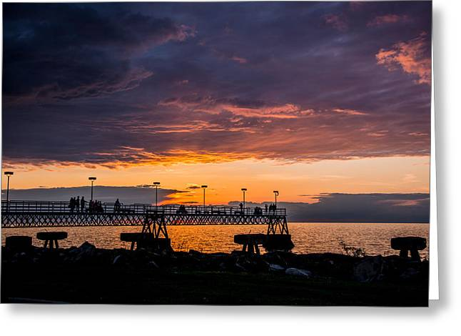 Sunset On Edgewater Park Pier Greeting Card by Paul Evans