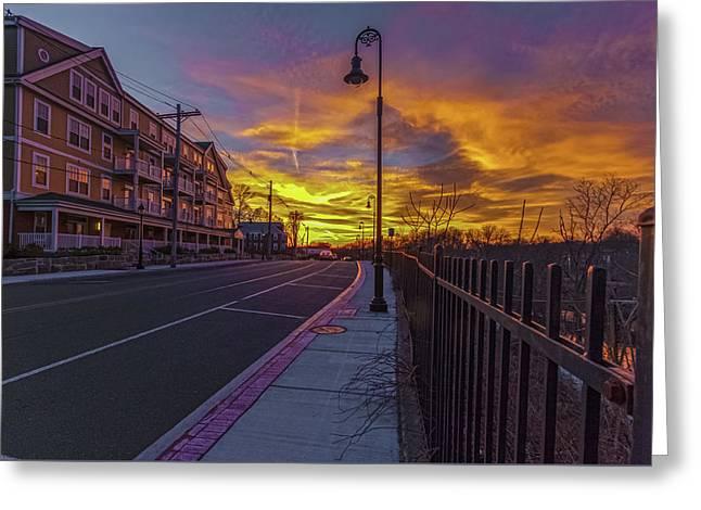 Sunset On Eliot St Milton Ma Greeting Card