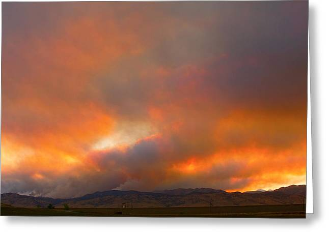 Sunset On Fire Greeting Card