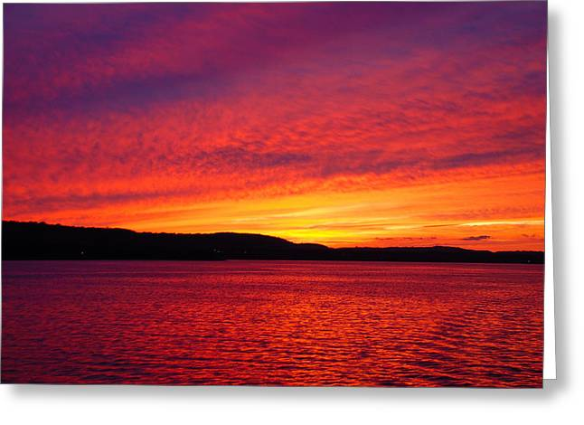 Sunset On Fire Greeting Card by Larry Nielson