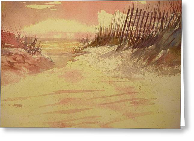 Sunset On  Florida Beach Greeting Card by Walt Maes