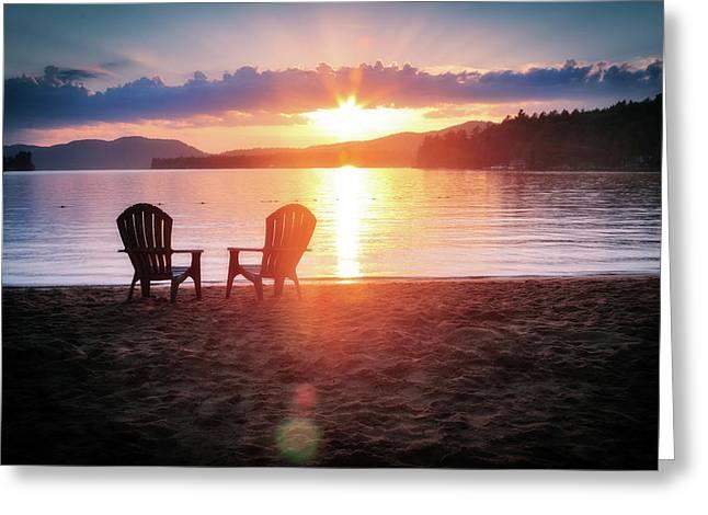 Sunset On Fourth Lake Greeting Card