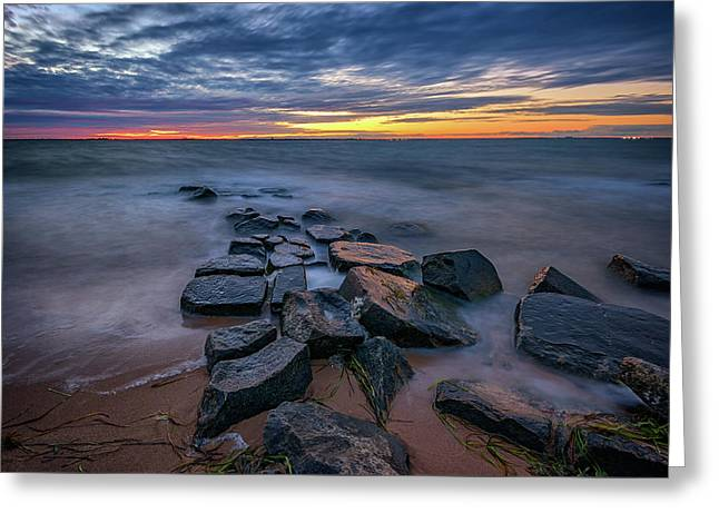 Sunset On Great South Bay Greeting Card by Rick Berk