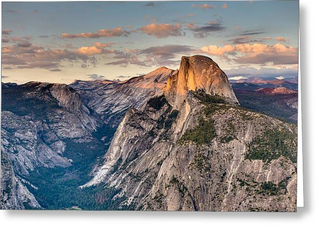 Greeting Card featuring the photograph Sunset On Half Dome by Adam Mateo Fierro