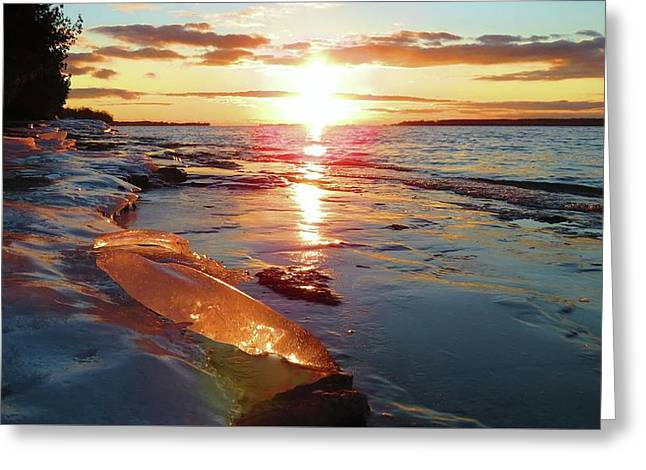 Sunset On Ice Greeting Card
